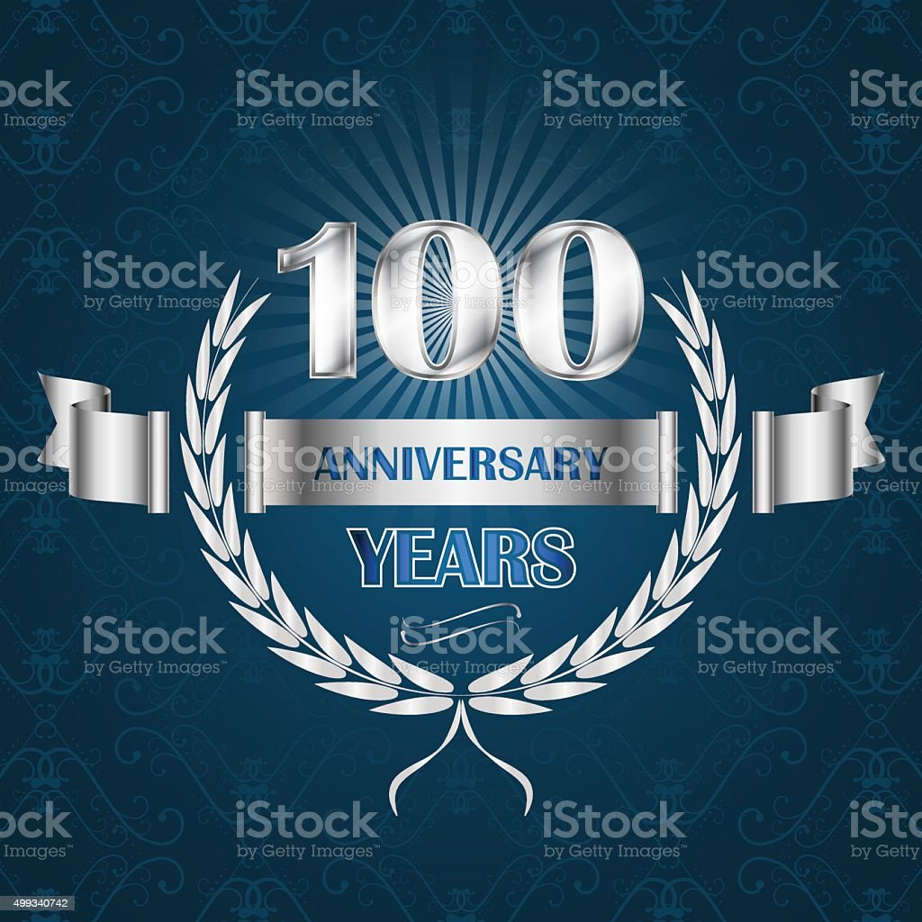 100 year anniversary emblem with ribbon and laurel wreath. vector art illustration