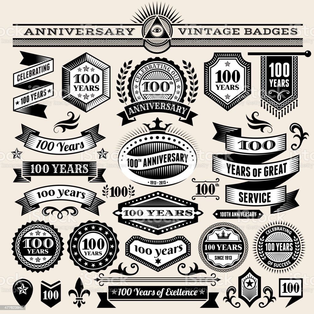 100 year anniversary hand-drawn royalty free vector background on paper vector art illustration