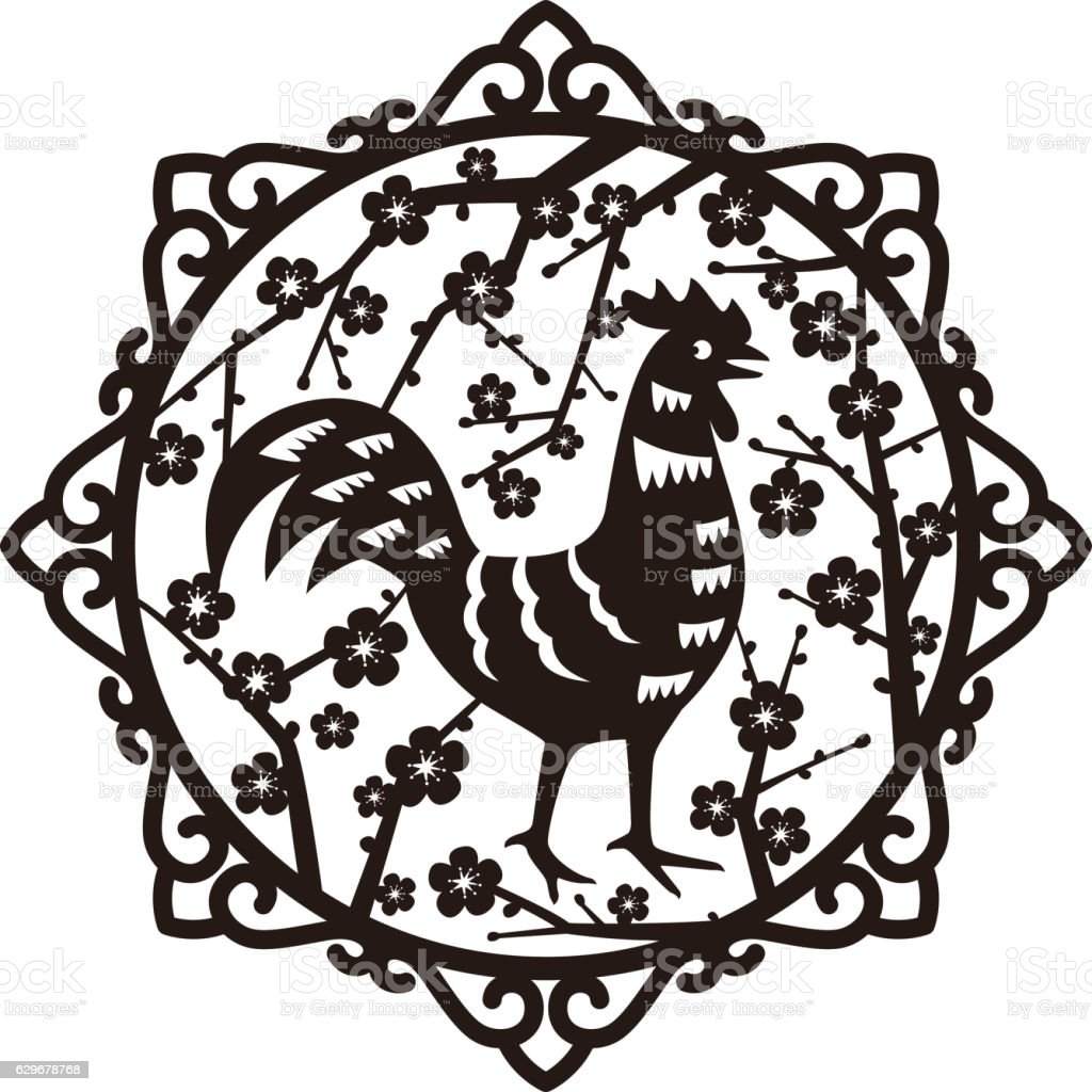 Year of Rooster 2017 on the Chinese calendar. vector art illustration