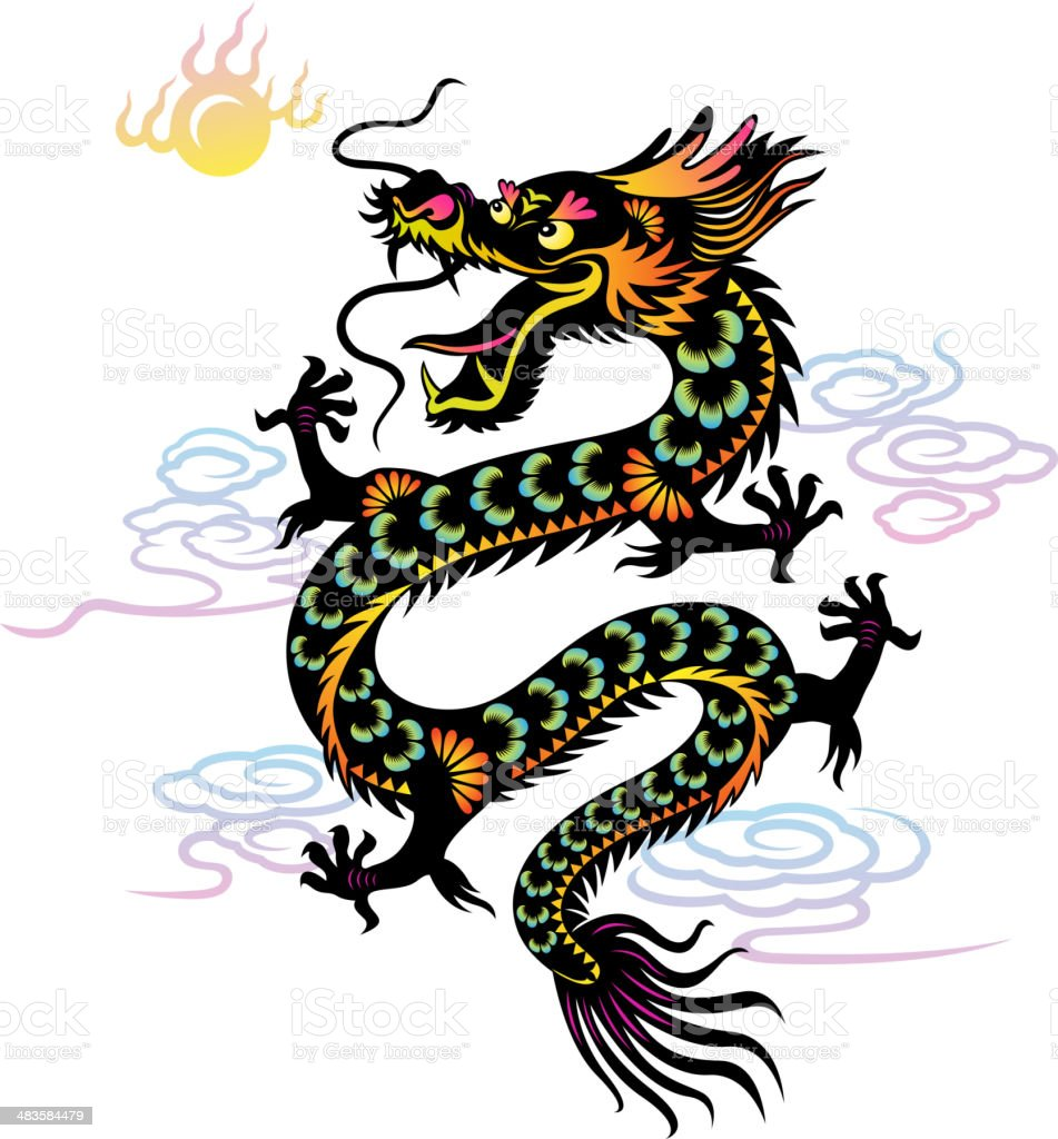 Year of the Dragon Colorful Paper-cut Art royalty-free stock vector art