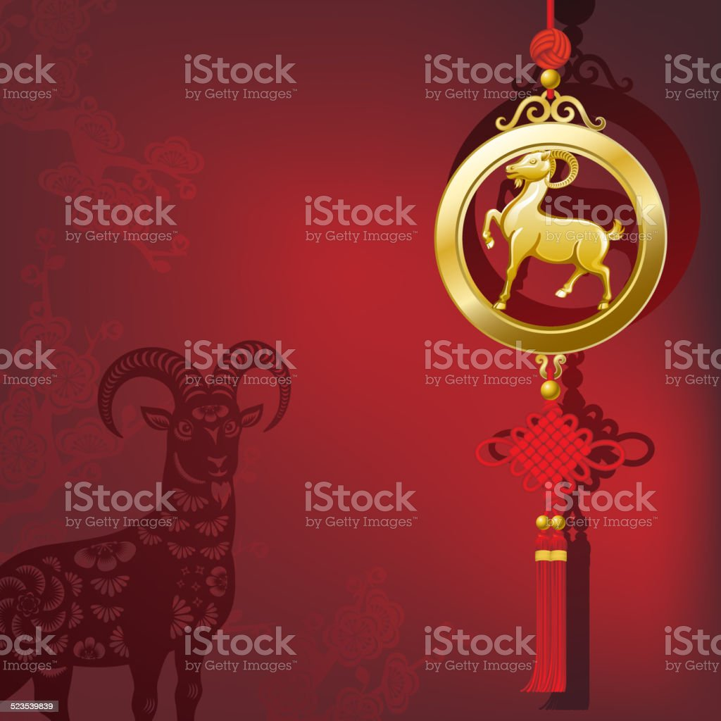 Year of the Goat Pendant in Chinese New Year Background vector art illustration