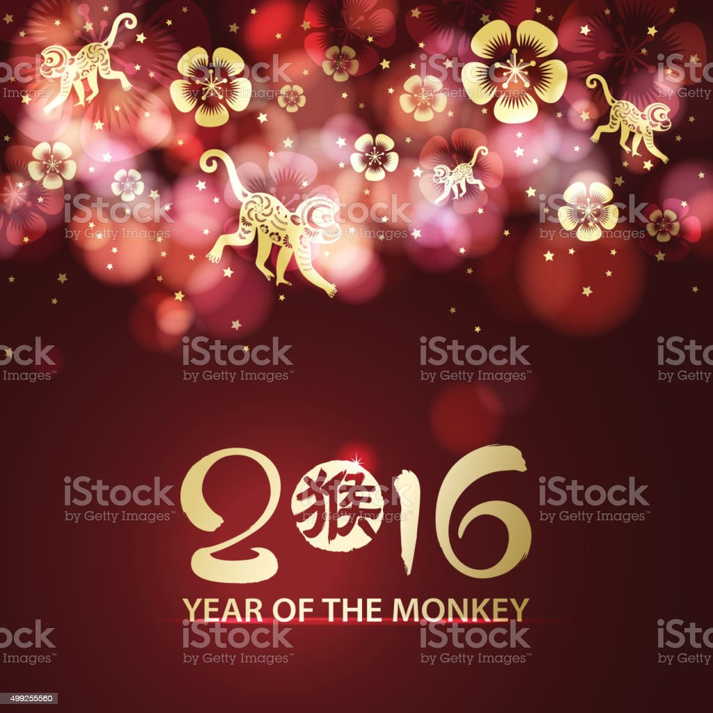 Year of the monkey 2016 decoration background vector art illustration