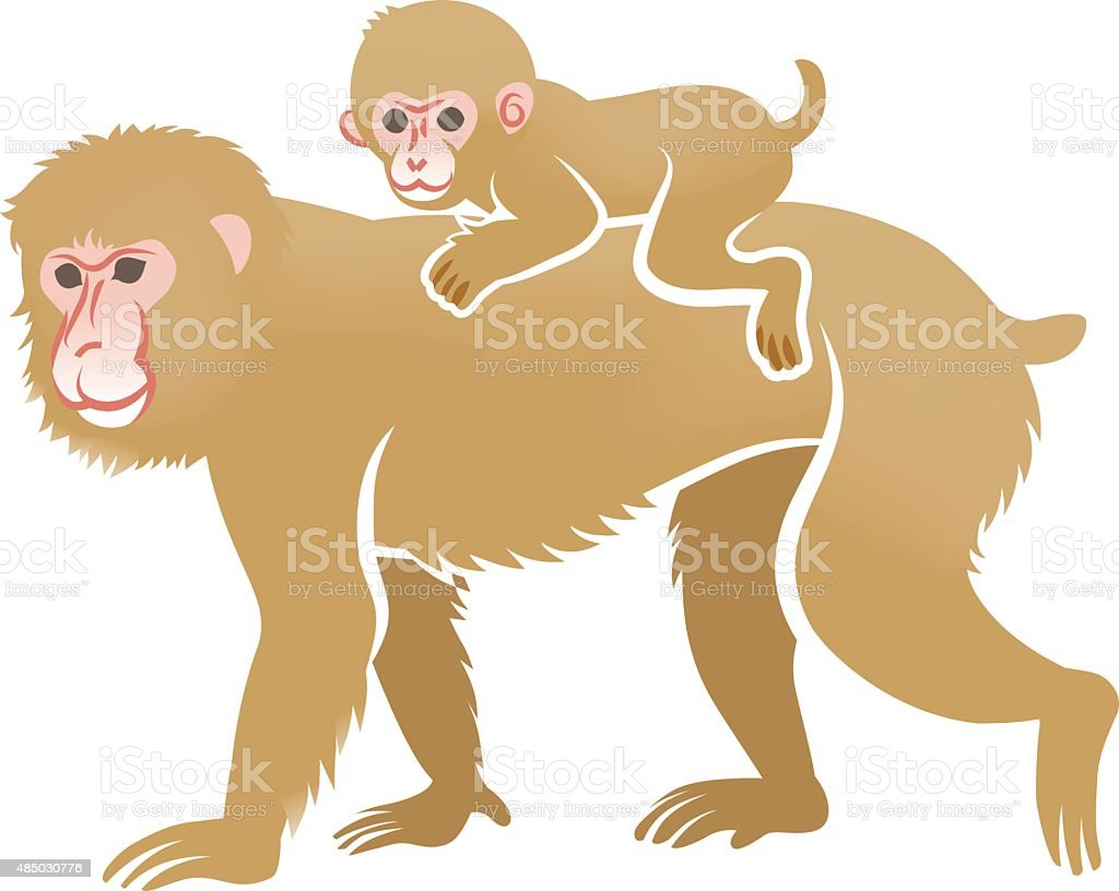 Year of the Monkey Clip Art -Piggyback ride vector art illustration