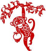 Year of the monkey papercut art
