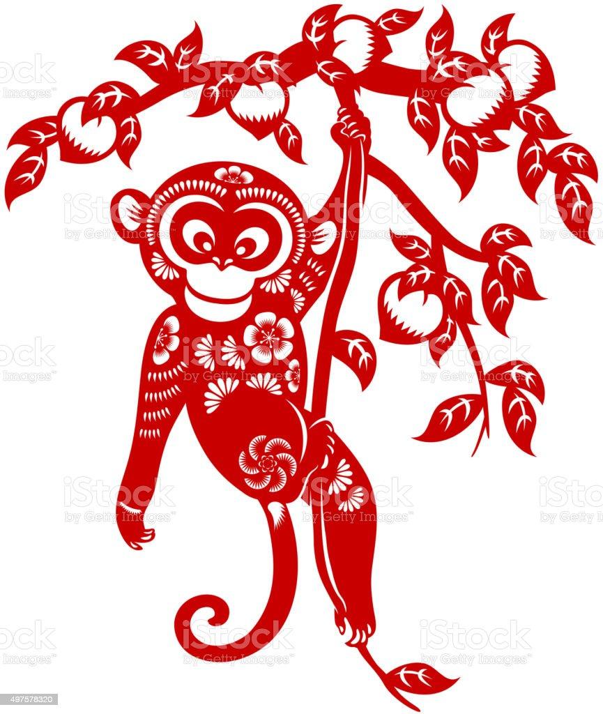 Year of the monkey papercut art vector art illustration