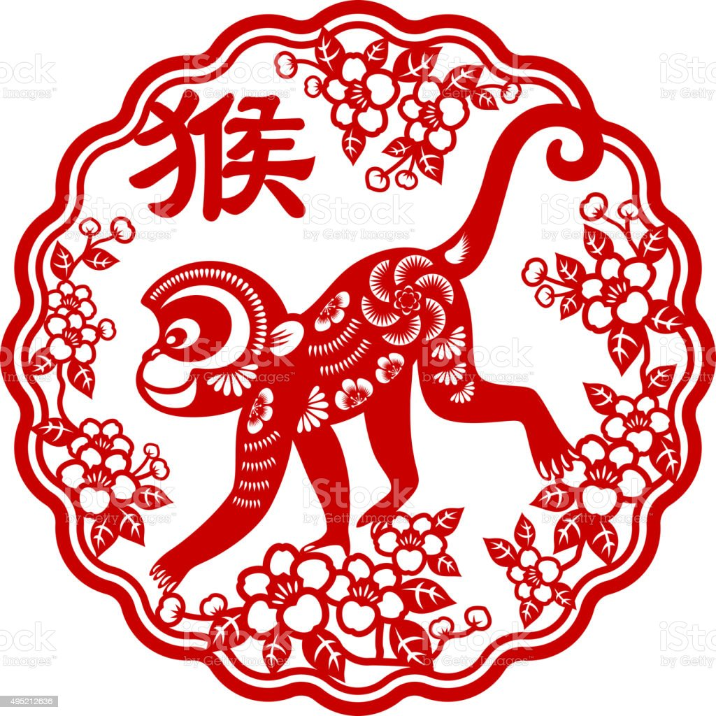 Year of the monkey papercut frame art vector art illustration