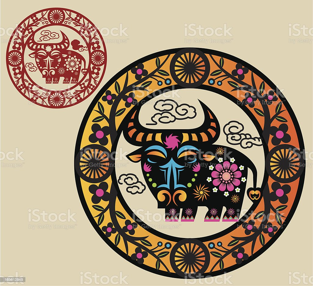 Year of the Ox Motif royalty-free stock vector art