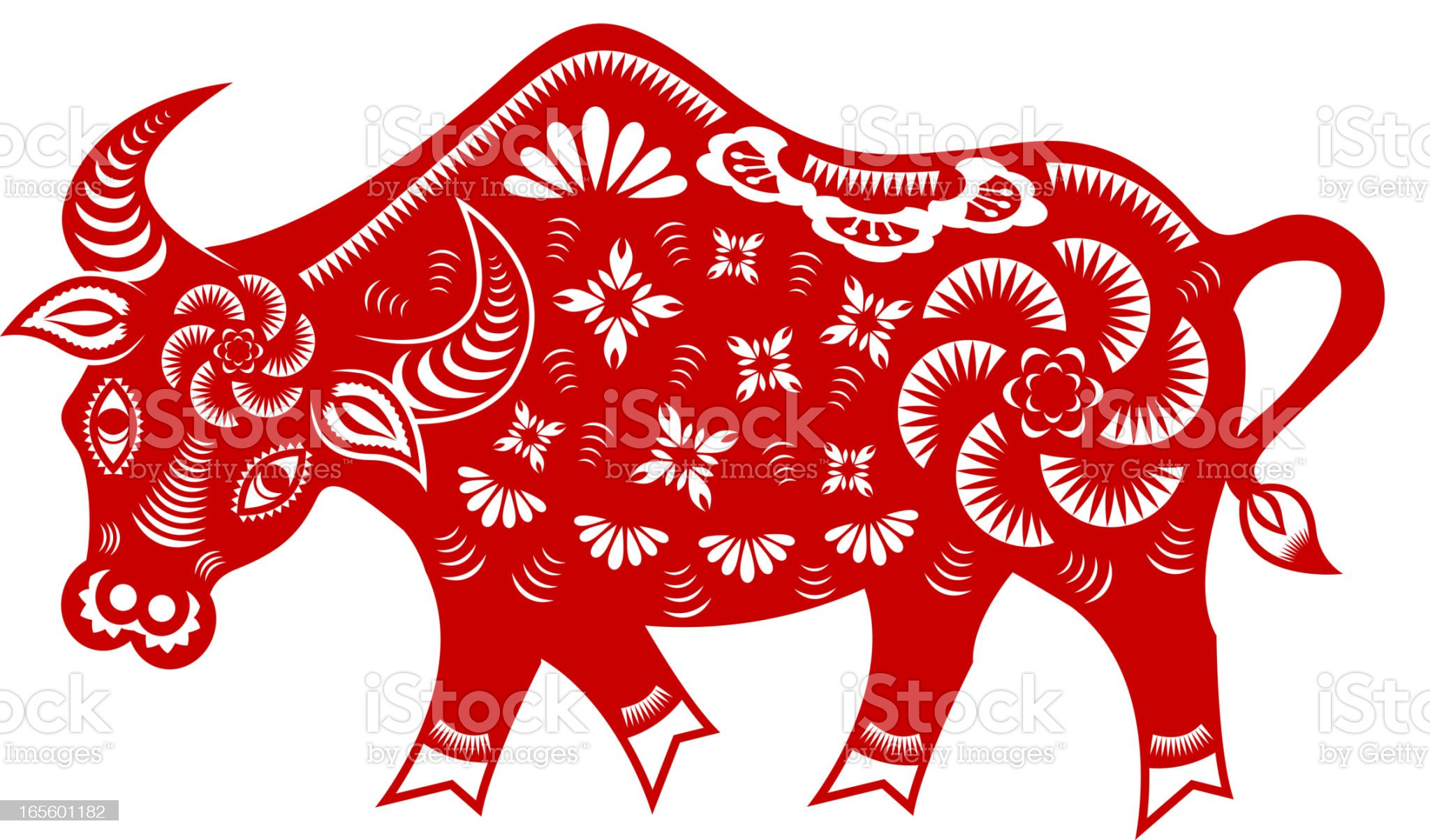 Year of The Ox Paper-cut Art royalty-free stock vector art