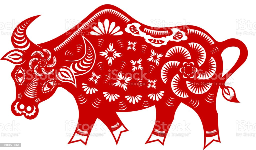 Year of The Ox vector art illustration