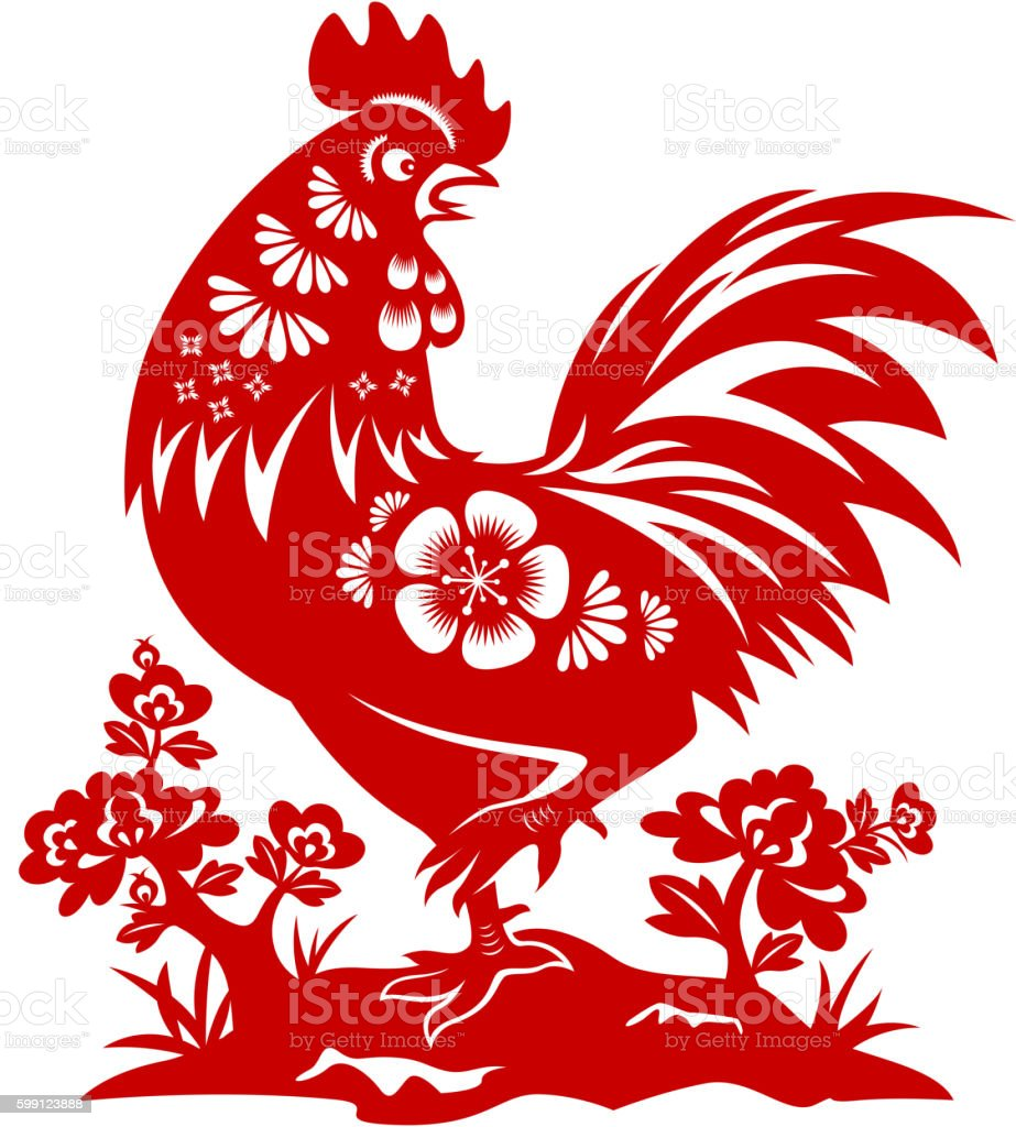 Year of the Rooster Papercut vector art illustration