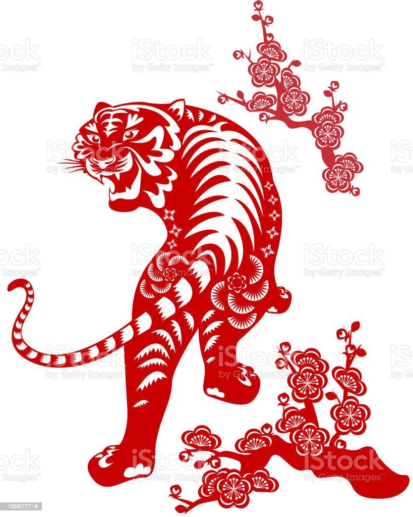 Year of The Tiger Paper-cut Art royalty-free stock vector art