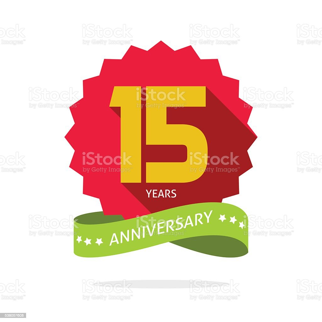 Years 15 anniversary vector label logo badge vector art illustration