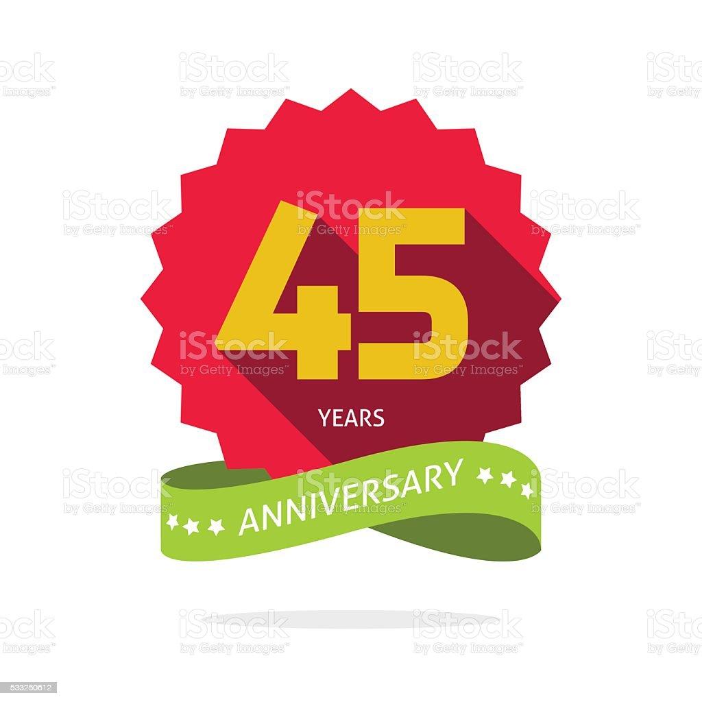 Years 45 anniversary vector label logo badge vector art illustration