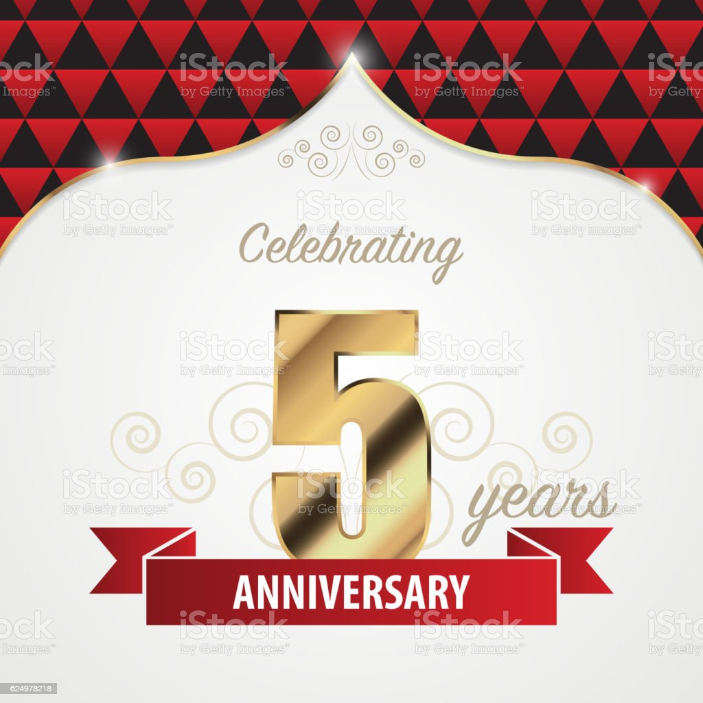 5 years anniversary celebration golden style. Vector vector art illustration