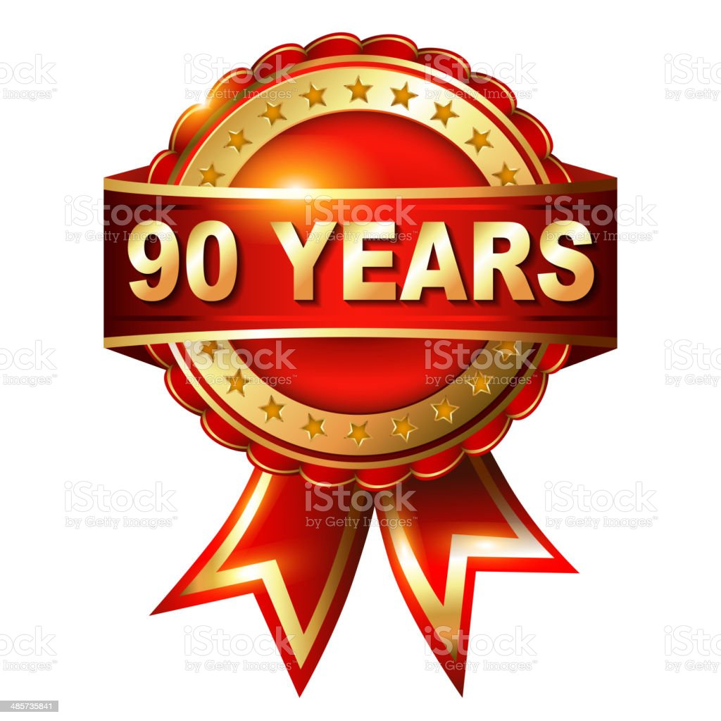 90 years anniversary golden label with ribbon. royalty-free stock vector art