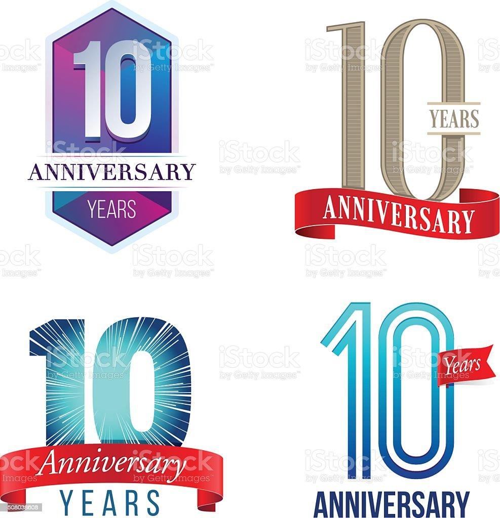 10 Years Anniversary Logo vector art illustration
