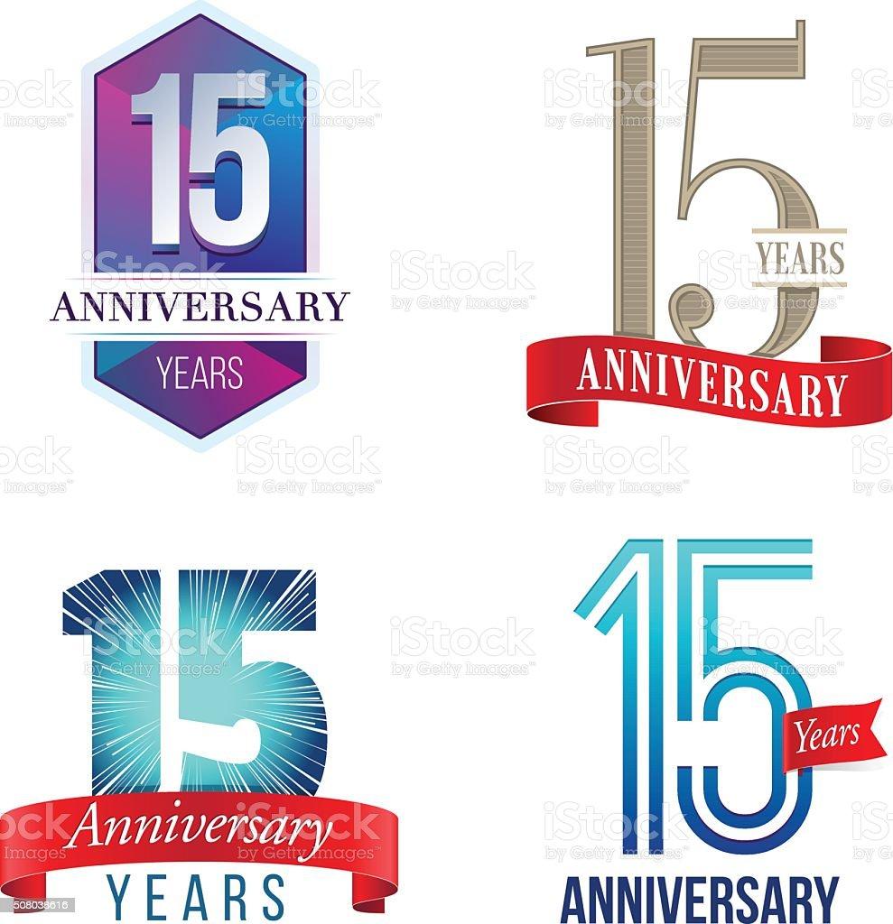 15 Years Anniversary Logo vector art illustration
