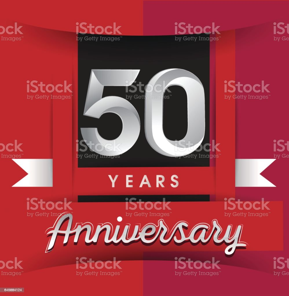 Background image 8841 - 50 Years Anniversary Logo With White Ribbon Isolated On Red Background Royalty Free Stock Vector