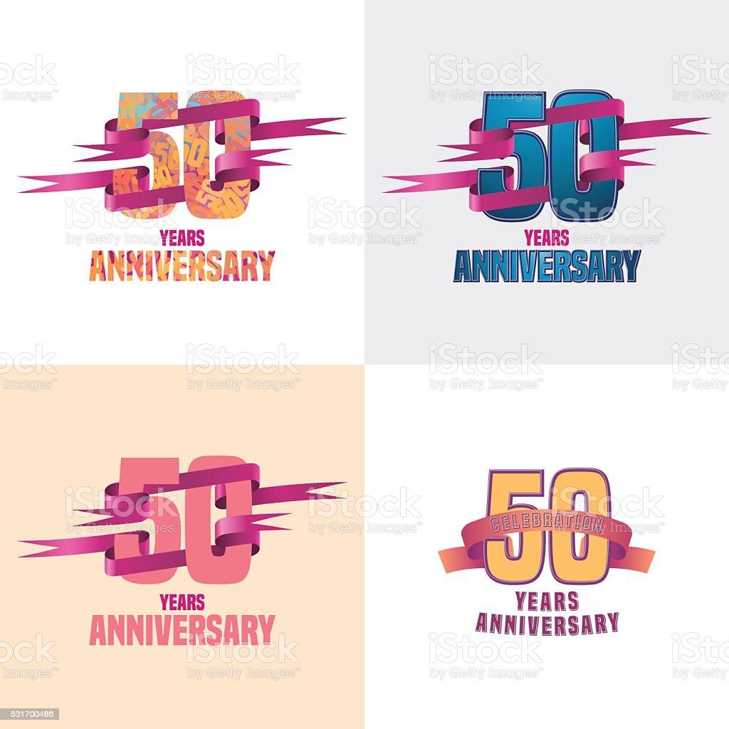 50 years anniversary vector icon set vector art illustration
