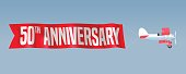 50 years anniversary vector illustration, banner, flyer, icon