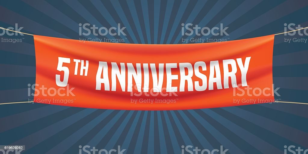 5 years anniversary vector illustration, banner, flyer, logo, icon, symbol vector art illustration