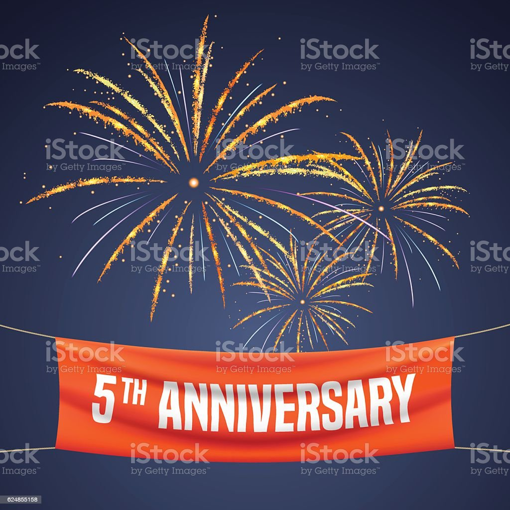 5 years anniversary vector illustration, banner, flyer vector art illustration