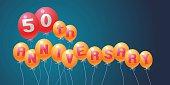 50 years anniversary vector illustration, banner, flyer