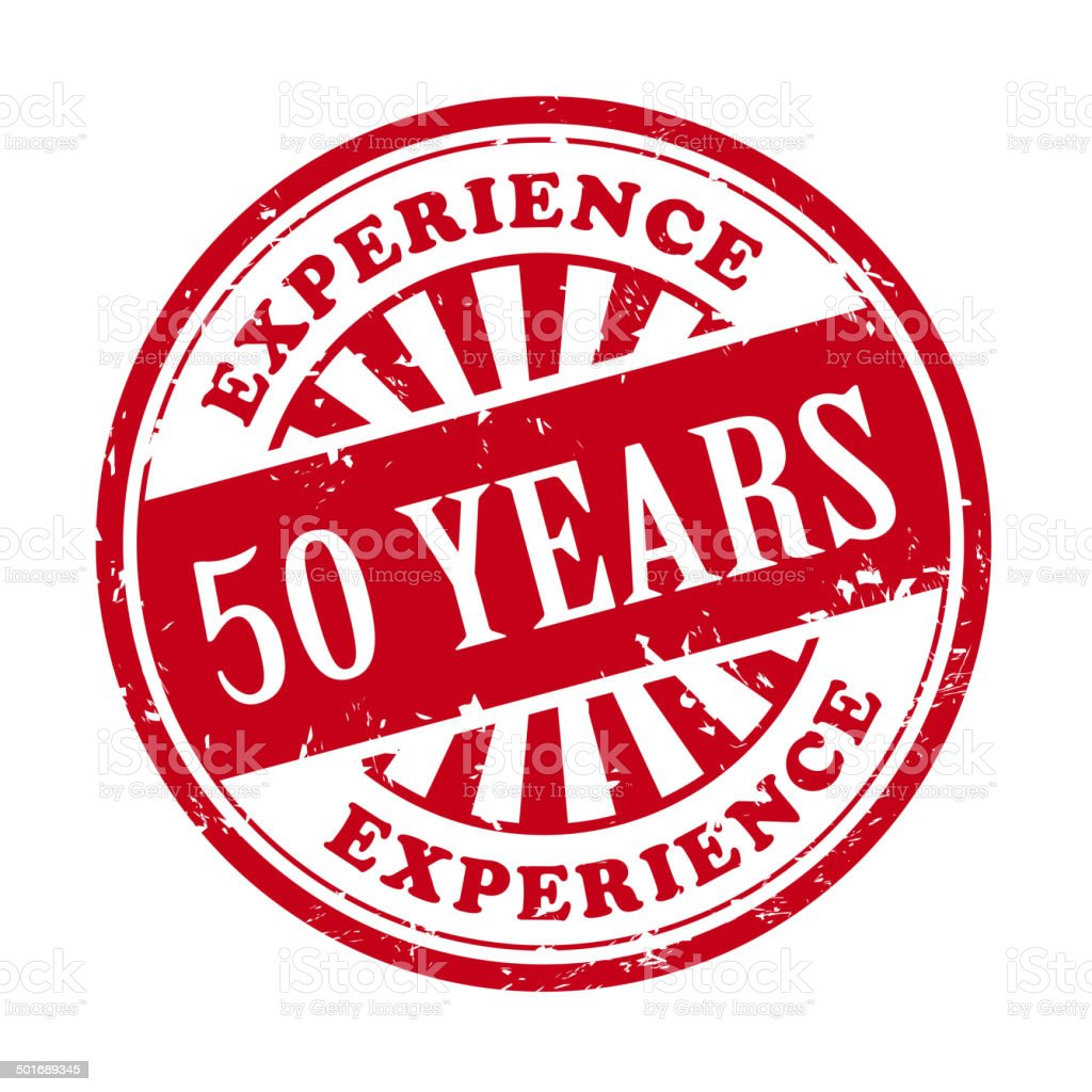 50 years experience grunge rubber stamp vector art illustration