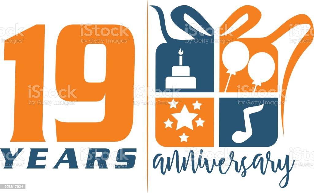 19 Years Gift Box Ribbon Anniversary vector art illustration