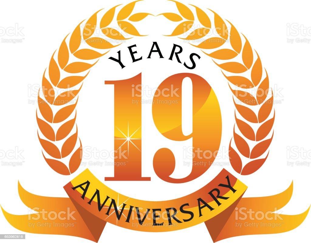 19 Years Ribbon Anniversary vector art illustration