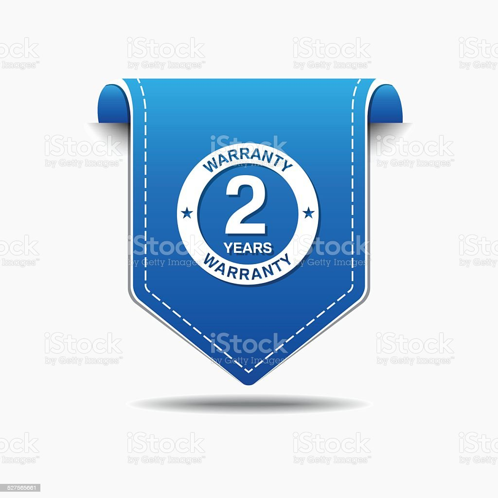 2 Years Warranty Blue Vector Icon Design vector art illustration