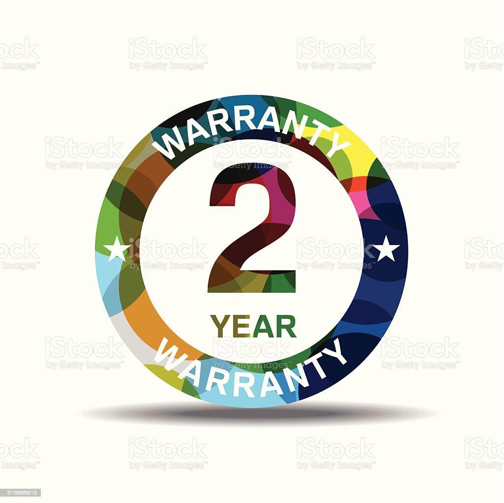2 Years Warranty Colorful Vector Icon Design vector art illustration