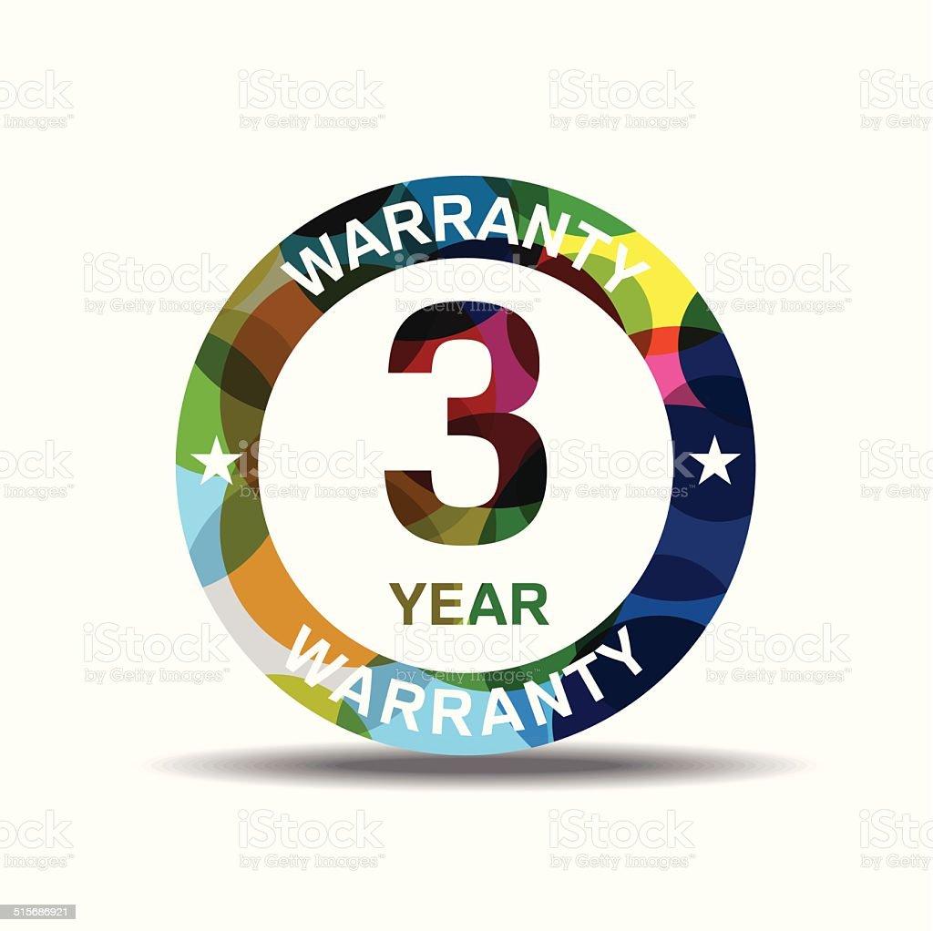 3 Years Warranty Colorful Vector Icon Design vector art illustration