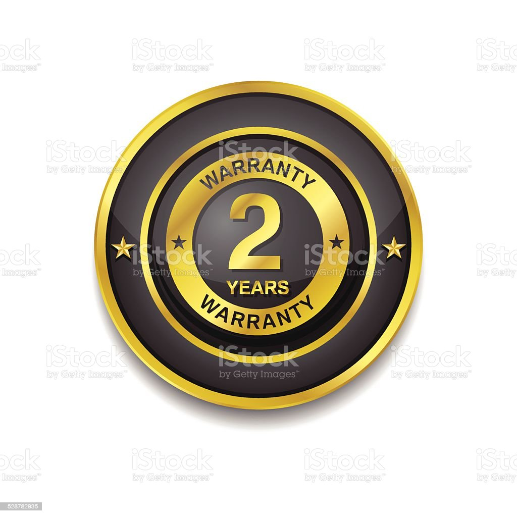 2 Years Warranty Gold Vector Icon Button vector art illustration