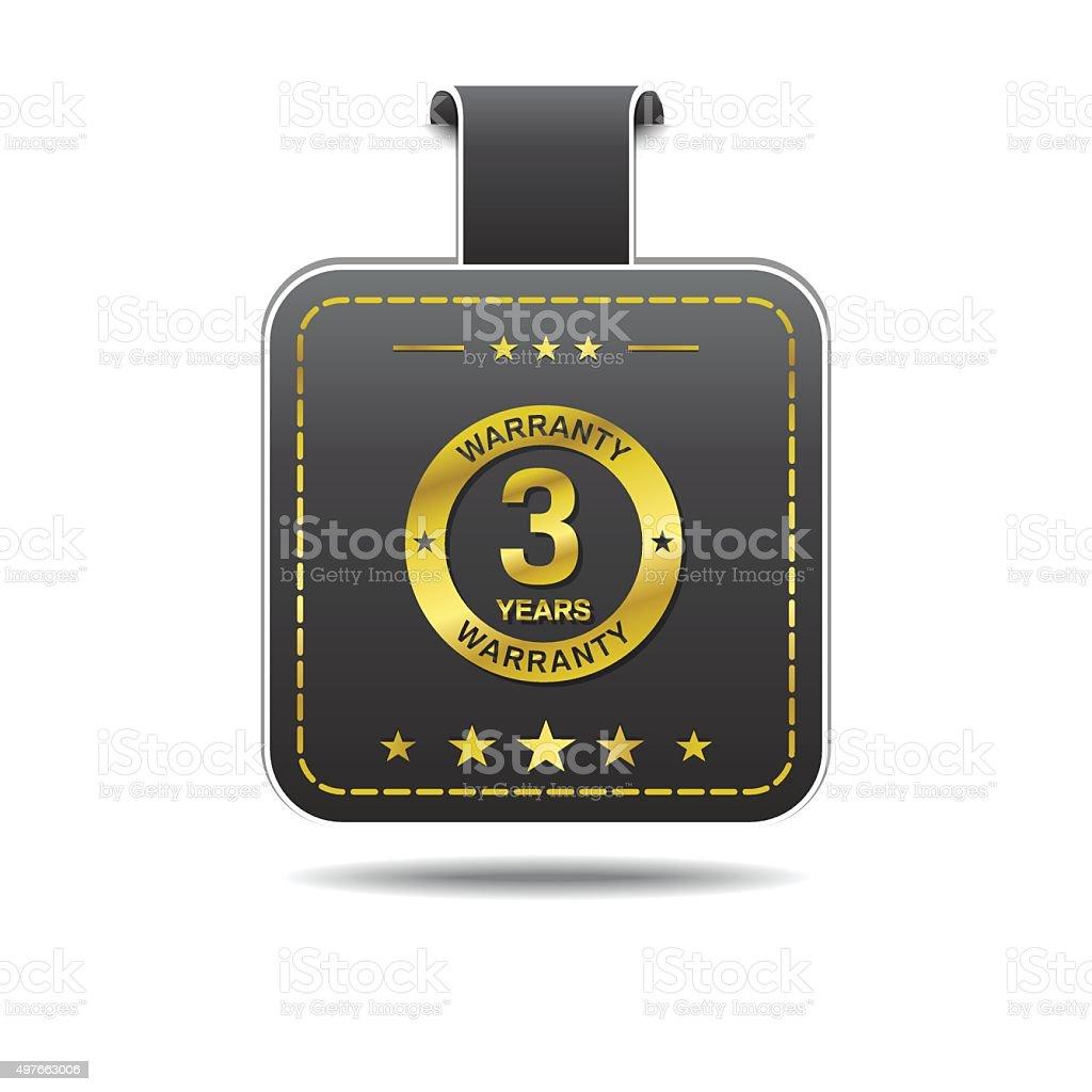 3 Years Warranty golden Vector Icon Design vector art illustration