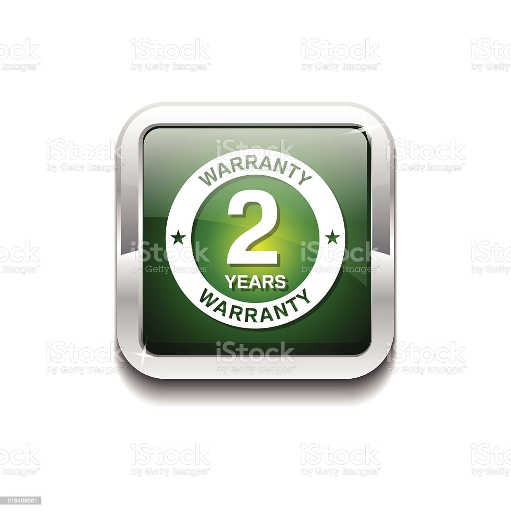 2 Years Warranty Green Vector Icon Button vector art illustration