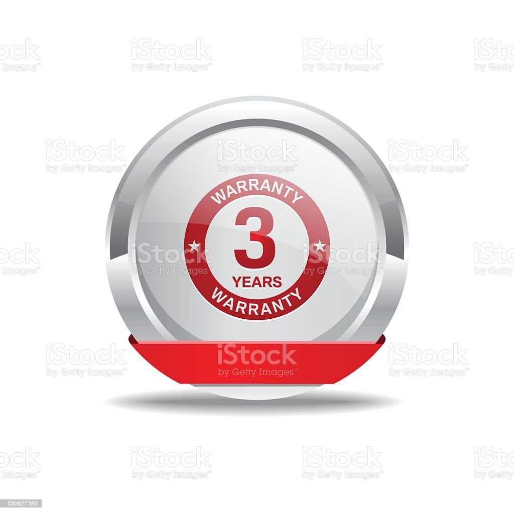 3 Years Warranty Red Vector Icon Button vector art illustration