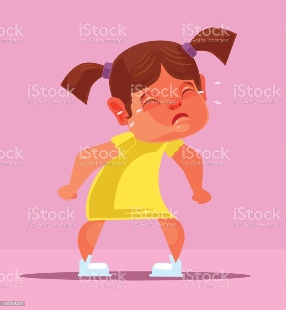 Yelling girl child character vector art illustration