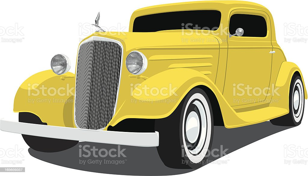 Yellow 1933 Chevrolet Coupe vector art illustration