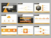 Yellow Abstract presentation templates Infographic elements template flat design set