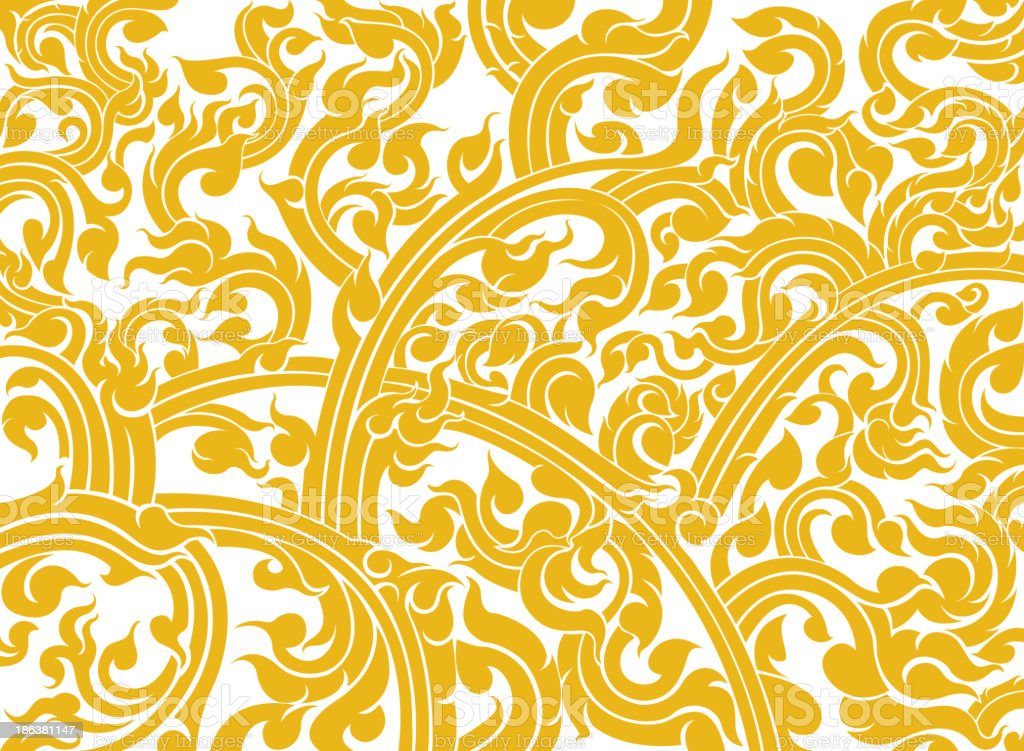 A yellow abstract Thai art pattern vector art illustration