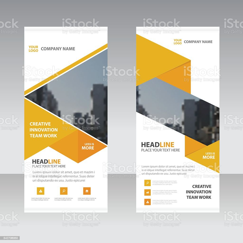 Yellow Abstract triangle Business Roll Up Banner flat design template vector art illustration