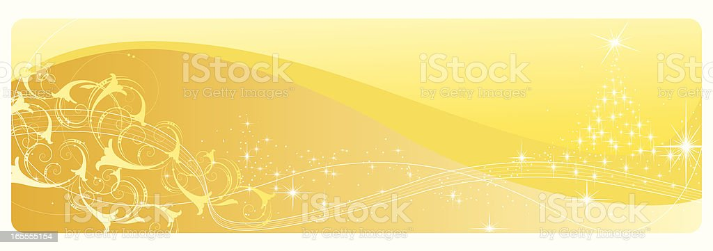 Yellow Abstract Xmas Banner vector art illustration
