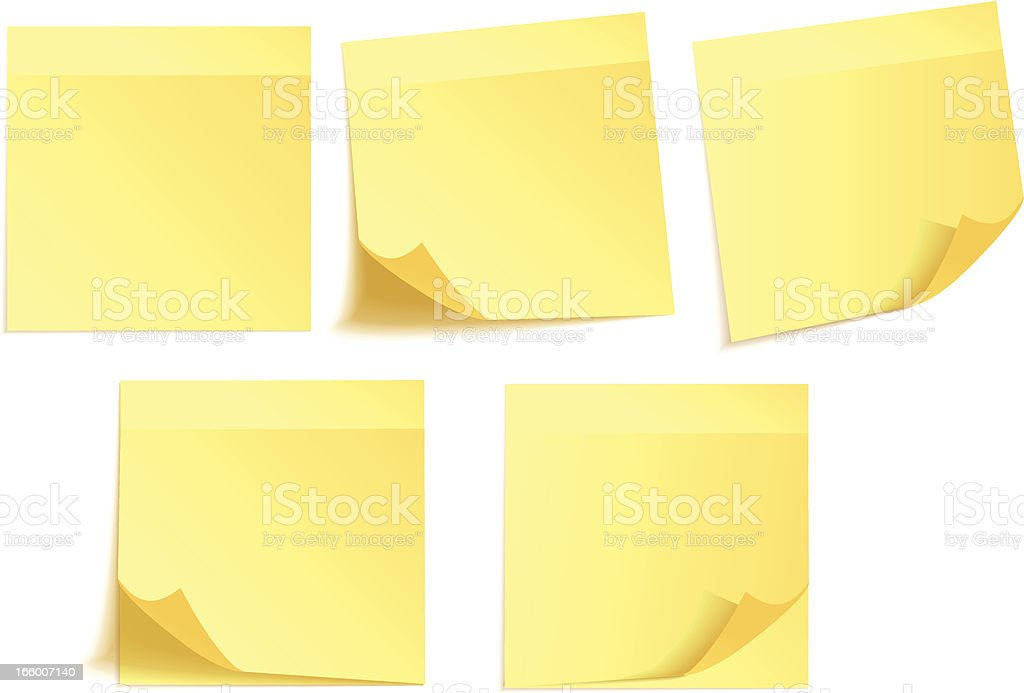 Yellow adhesive notes vector art illustration