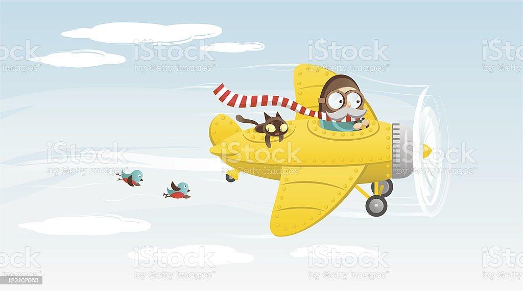Yellow airplane vector art illustration