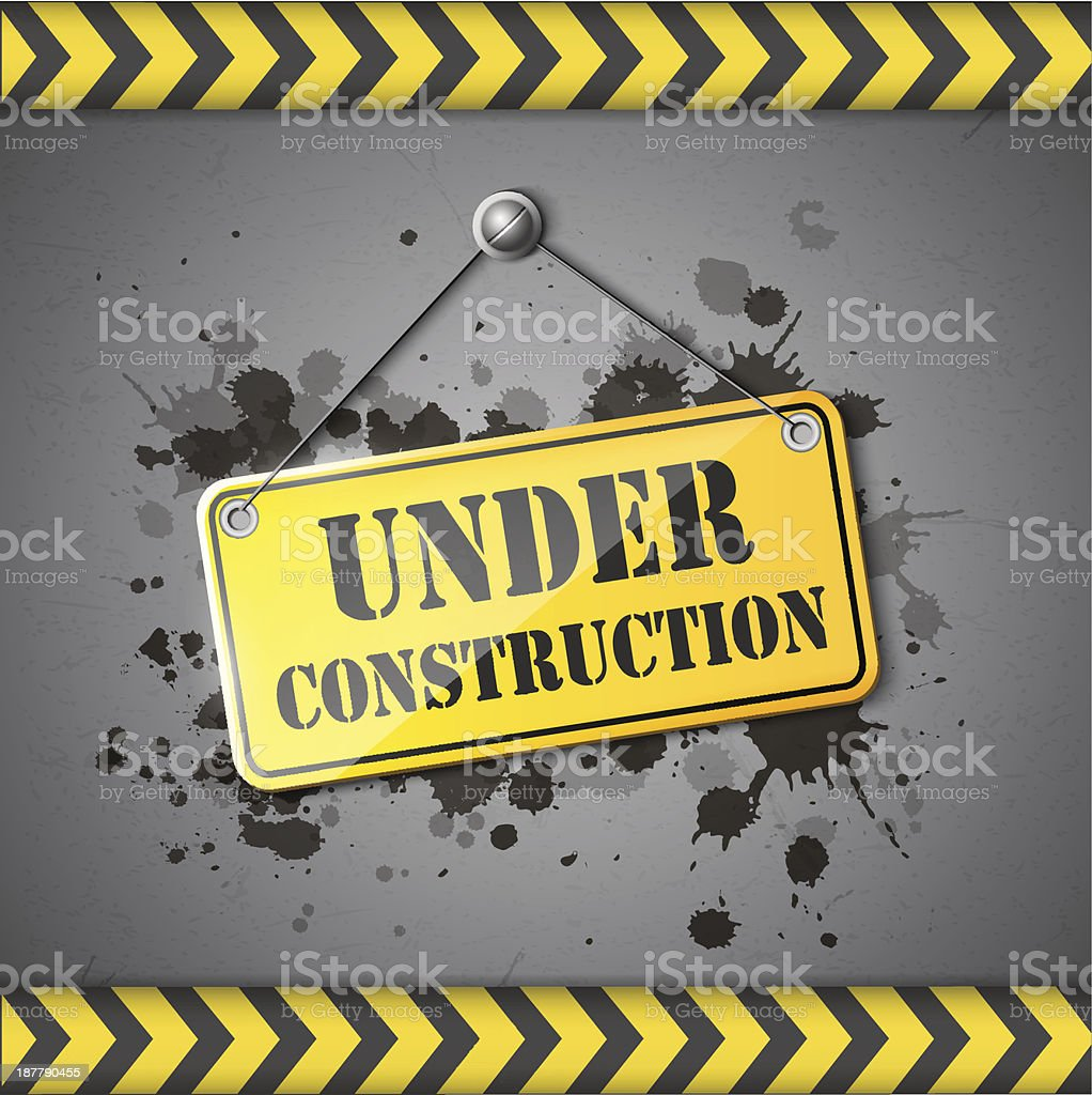 A yellow and black construction warning sign vector art illustration