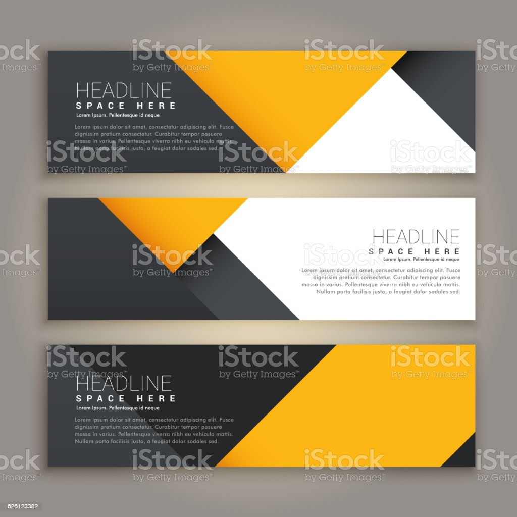yellow and black minimal style set of web banners vector art illustration