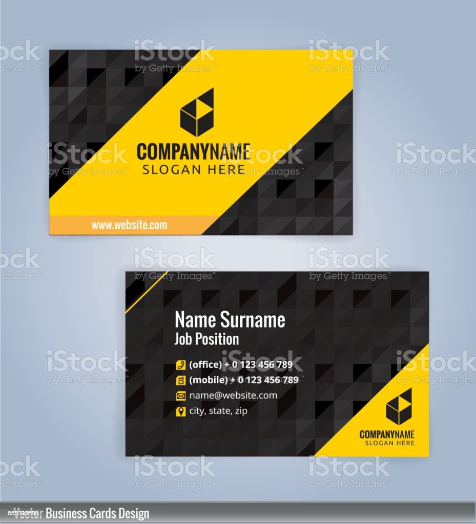 Yellow and Black modern business card template vector art illustration