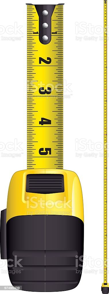 A yellow and black tape measure royalty-free stock vector art