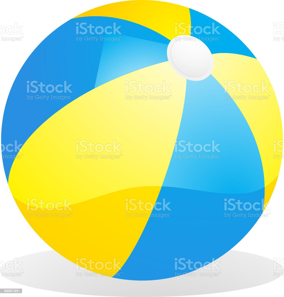 yellow and blue beachball vector art illustration